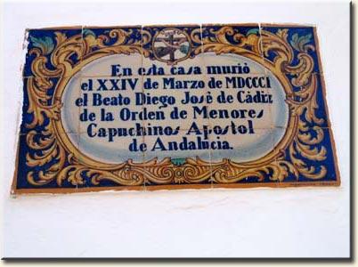 Placa Casa donde murio el Beato Diego Jose de Cadiz