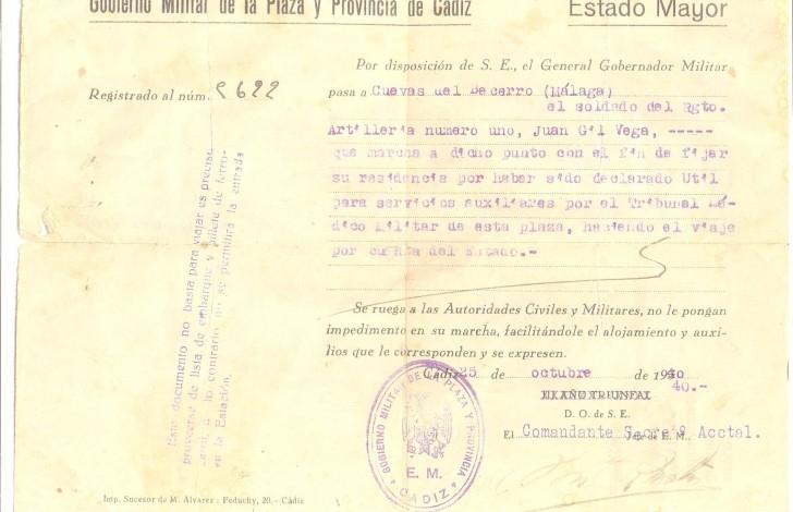 documento de un soldado